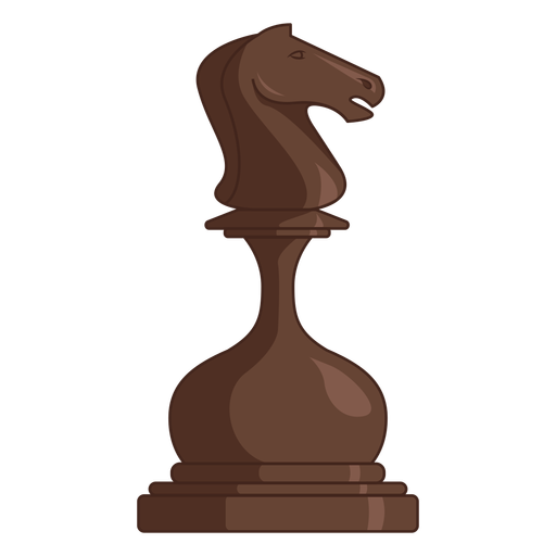 Knight chess piece brown color stroke