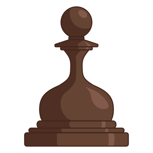 Pawn chess piece brown color stroke