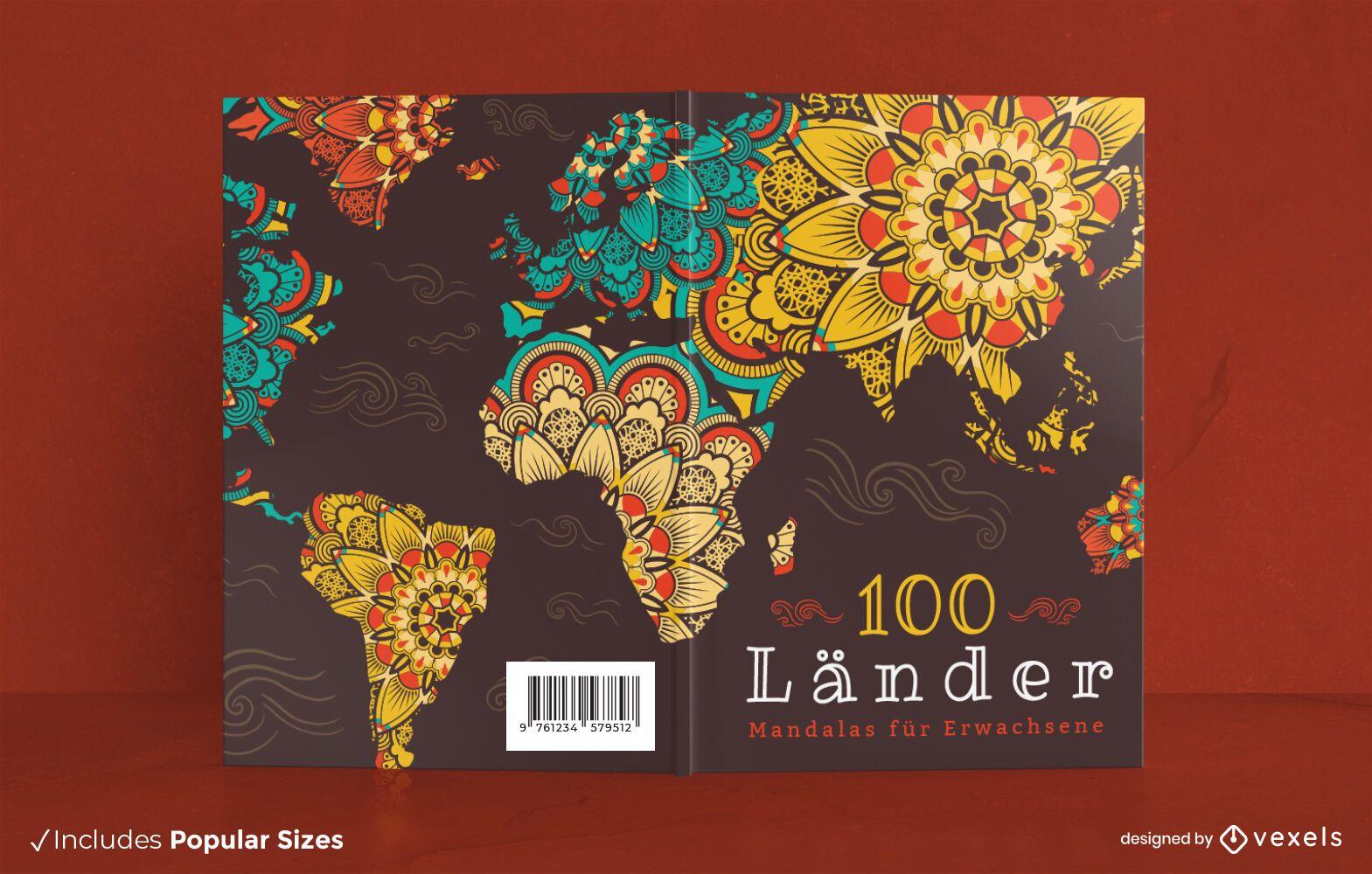 Dise?o de portada de libro floral de mandala de mapa mundial