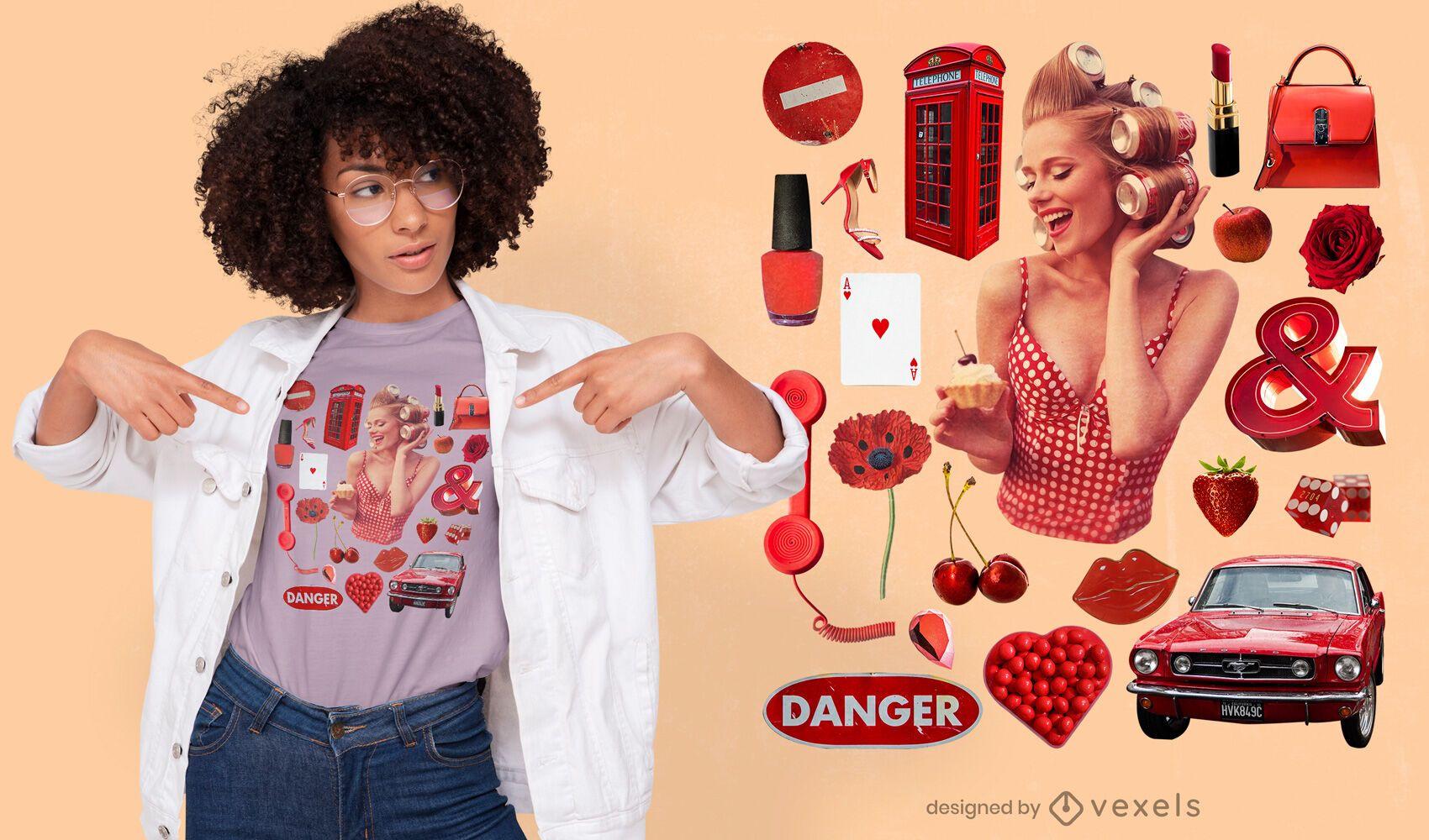 T-shirt psd com elementos vermelhos