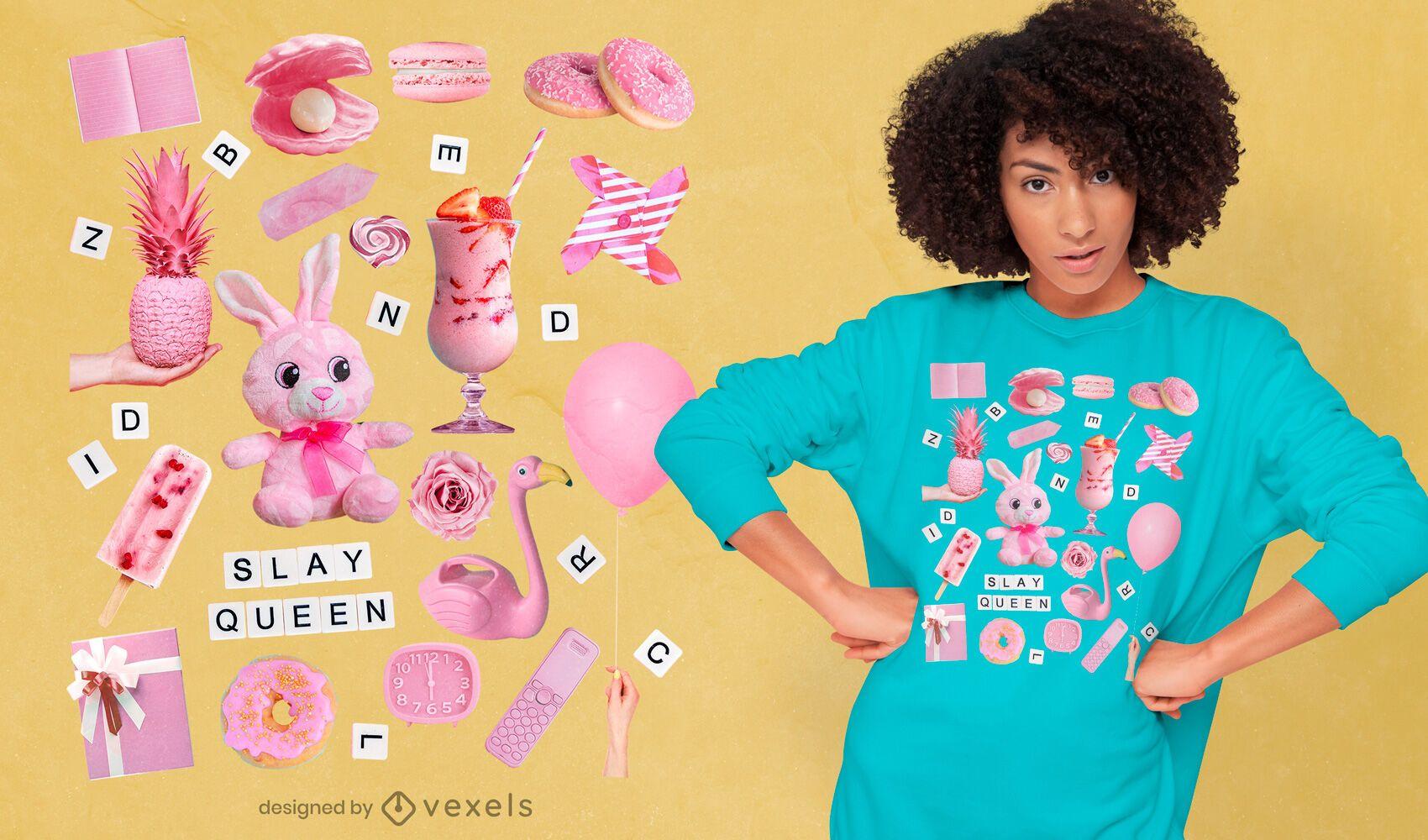 Camiseta rosa elementos psd