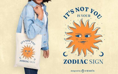 Diseño de la bolsa de asas de la cita divertida del signo del zodiaco