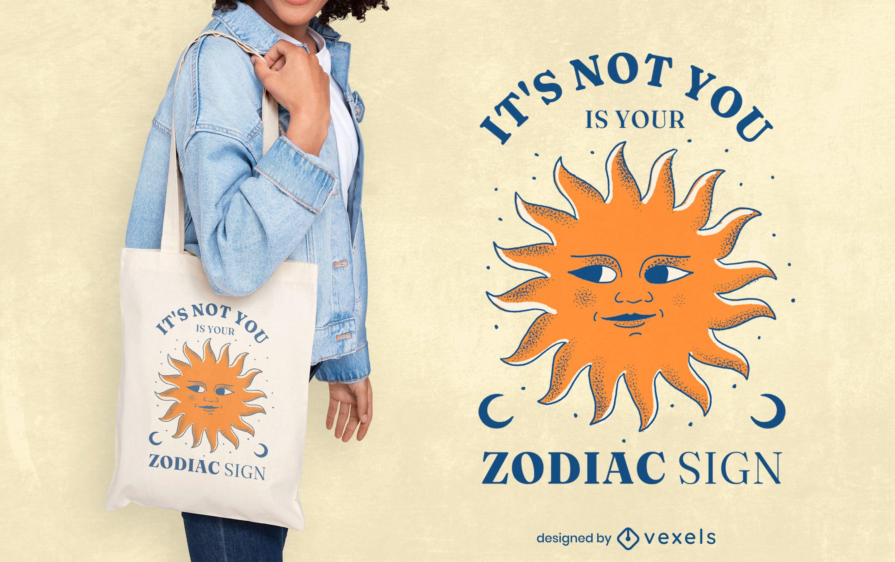 Dise?o de la bolsa de asas de la cita divertida del signo del zodiaco