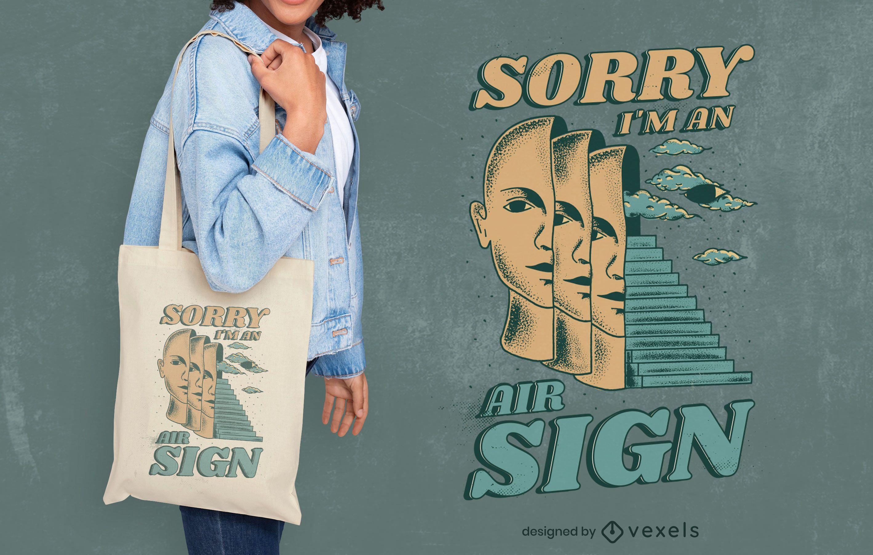 Air sign nature zodiac tote bag design