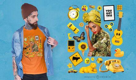 T-shirt psd com elementos amarelos
