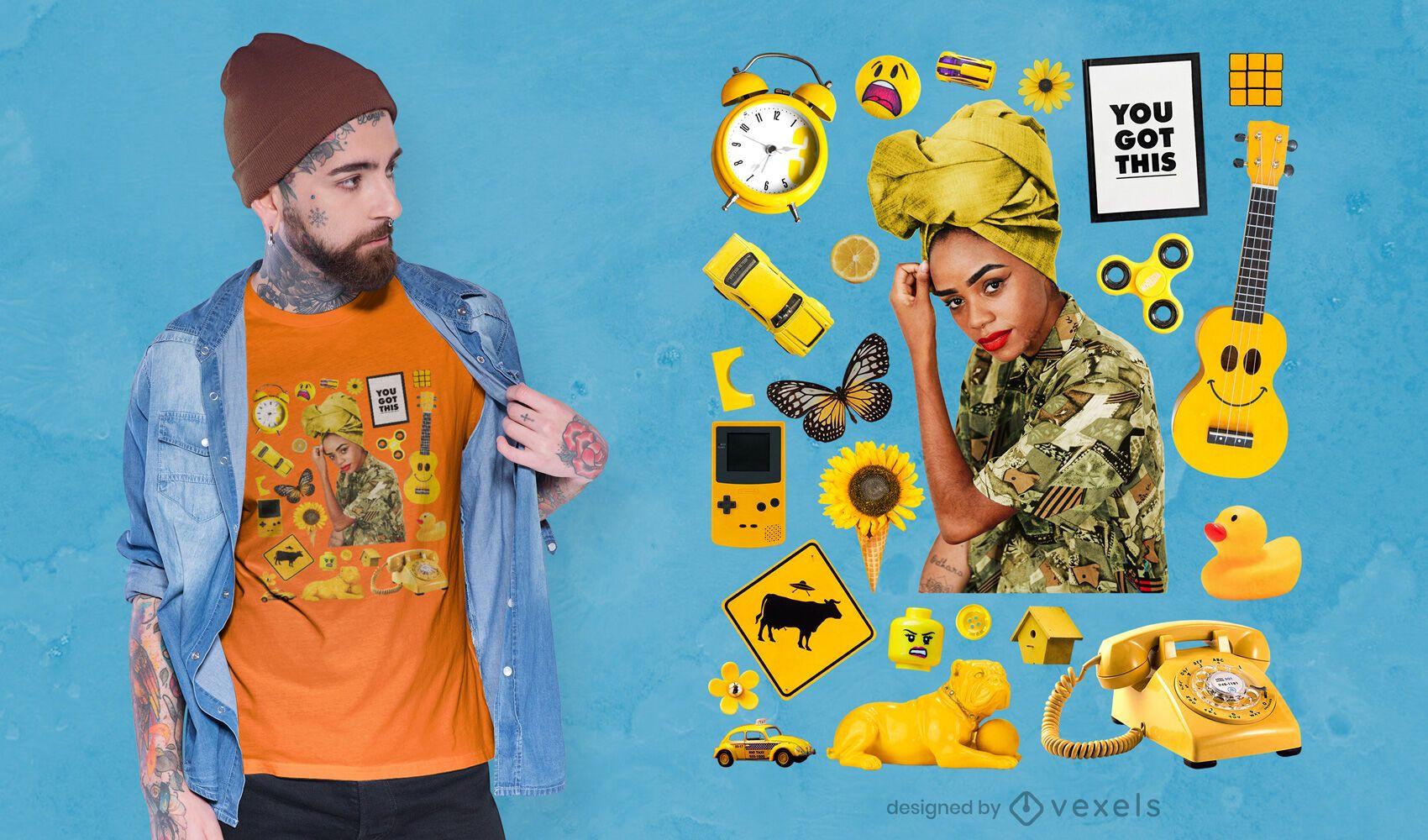 Camiseta psd elementos amarillos
