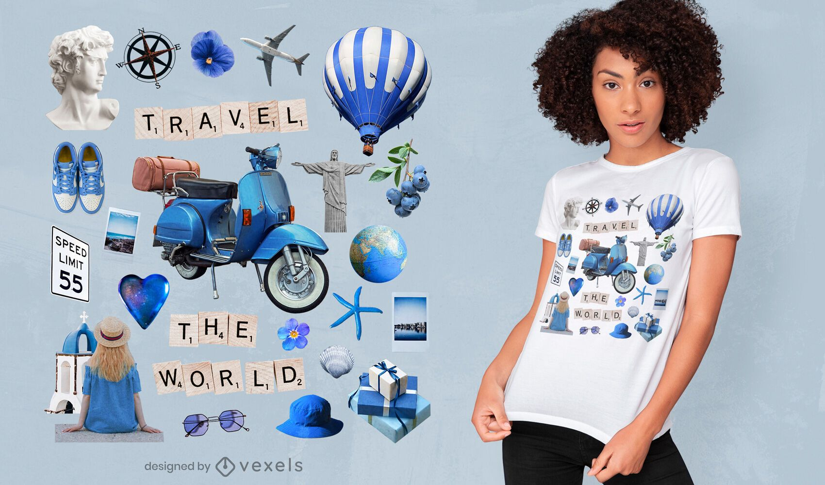 Elementos de viaje diseño de camiseta azul psd