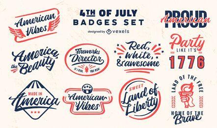 Conjunto de insignias retro de vacaciones del cuatro de julio.