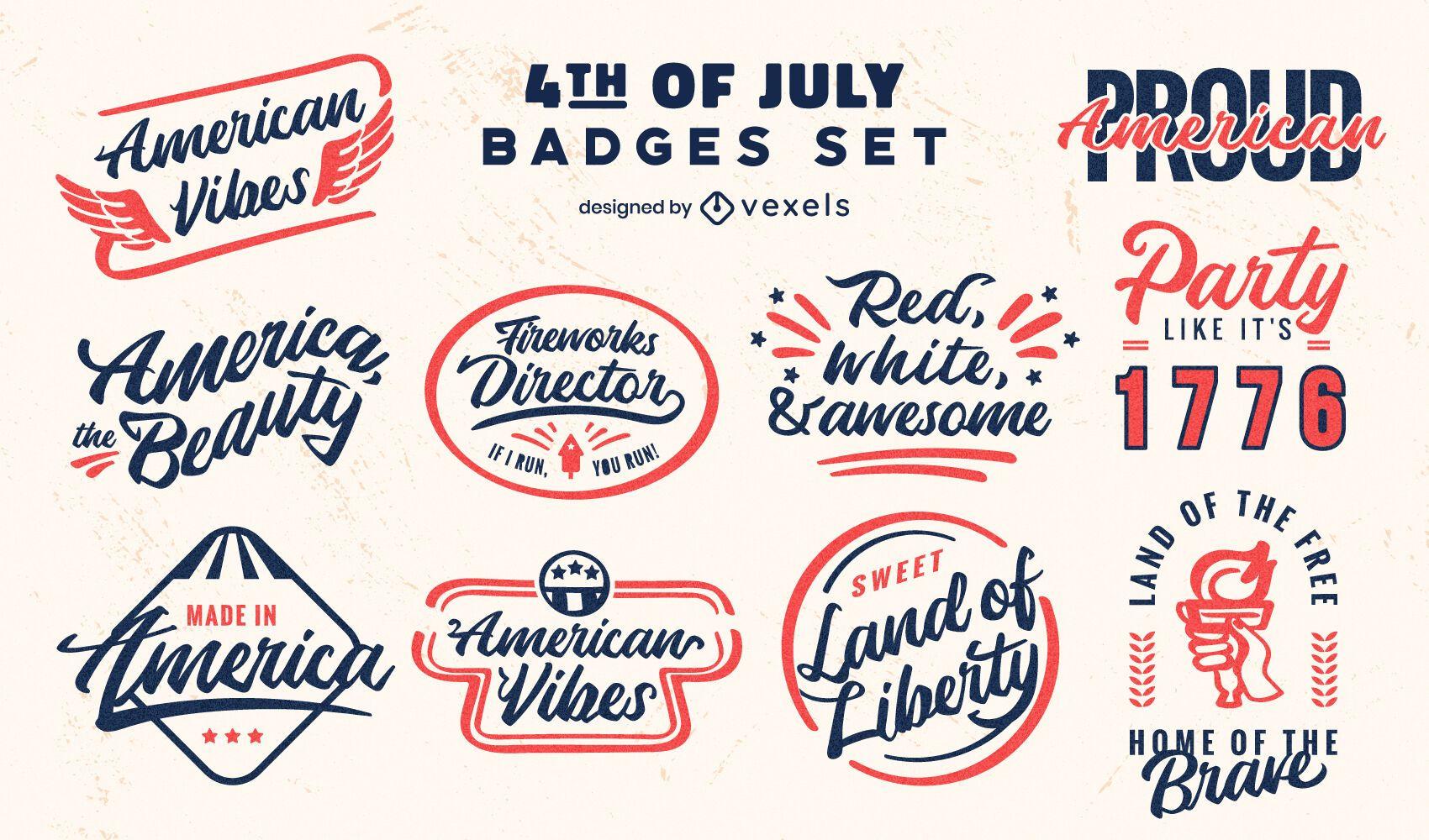Conjunto de emblemas retrô de feriado de 4 de julho