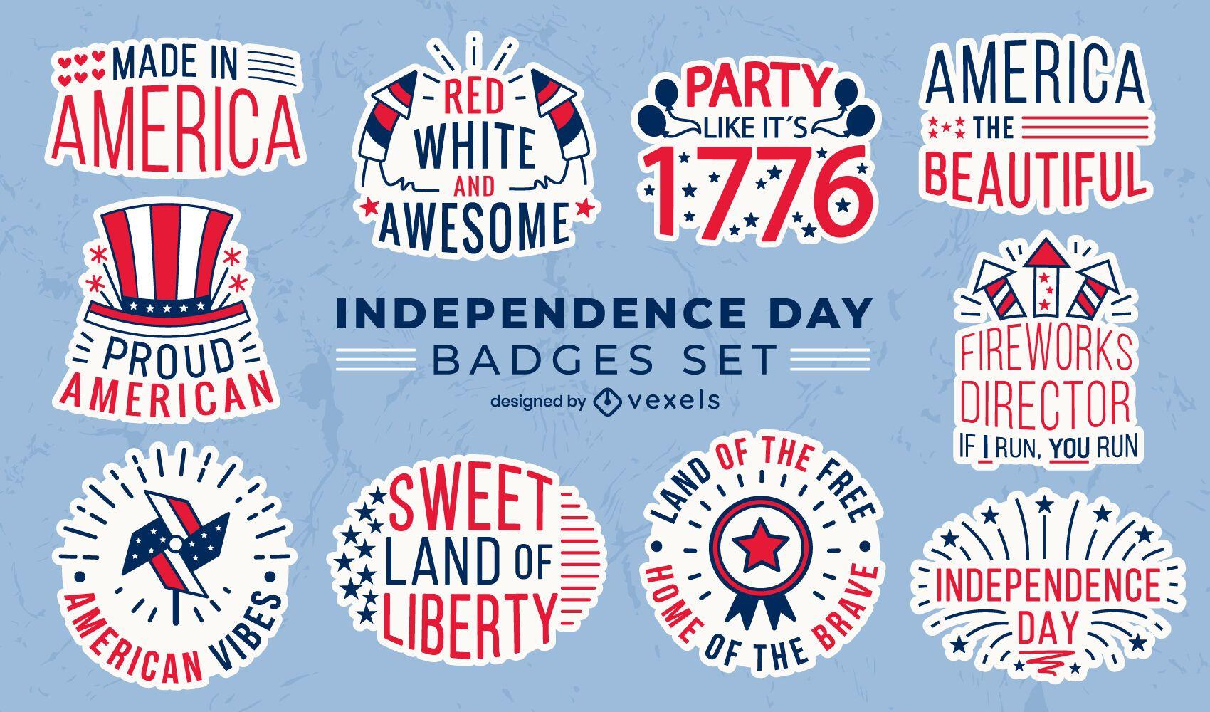 Conjunto de insignias del día de la independencia.