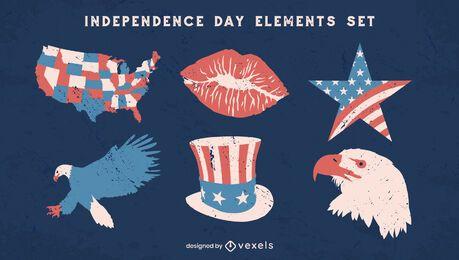 Conjunto vintage de elementos del día de la independencia