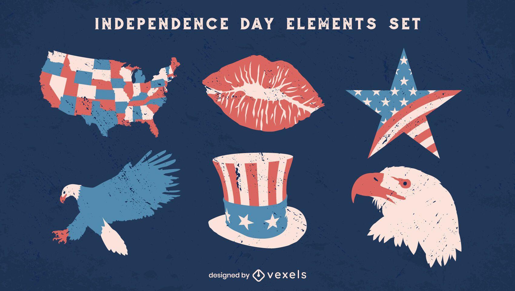 Conjunto de elementos vintage do Dia da Independência