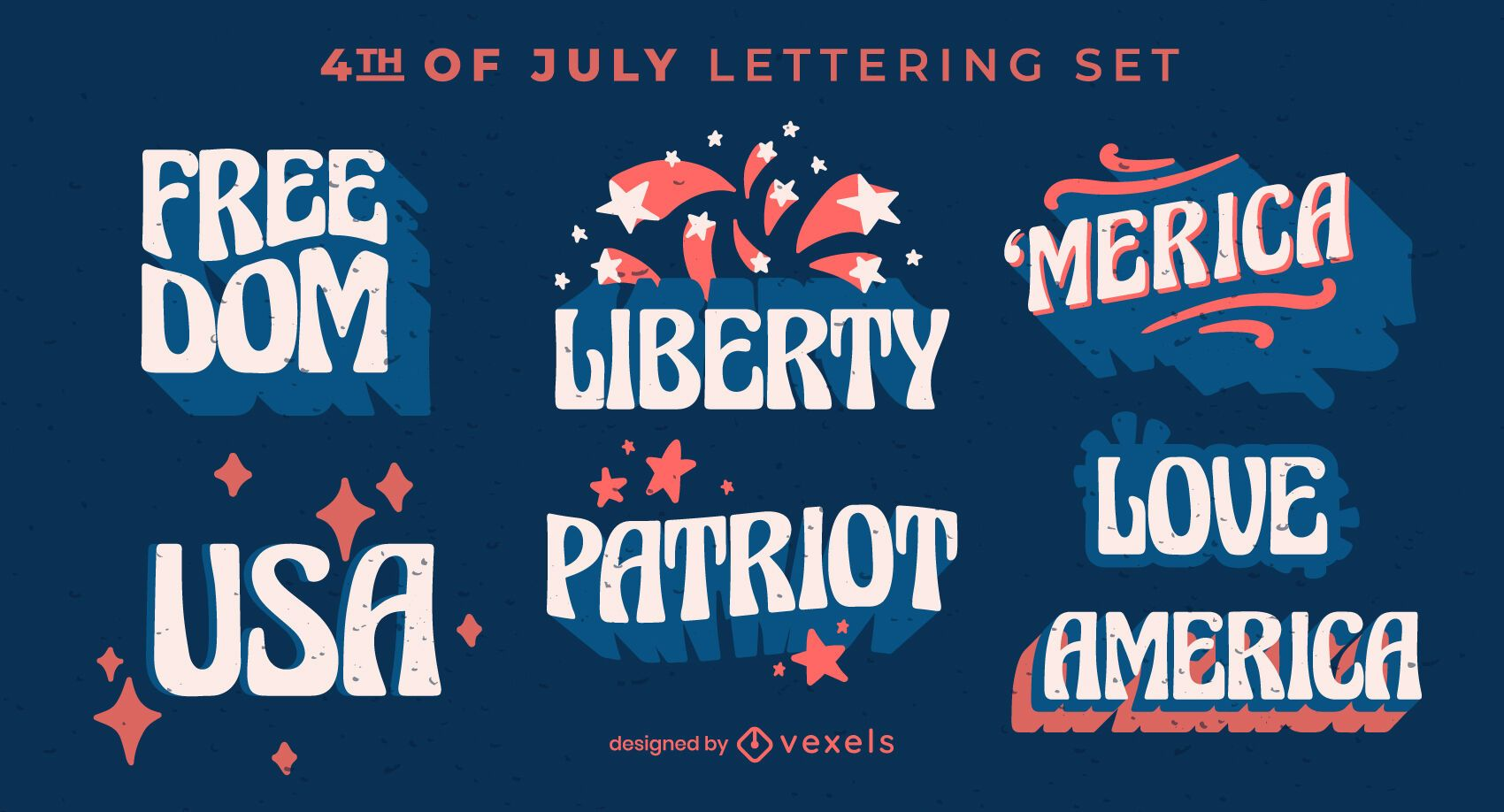 4th of July lettering elements set