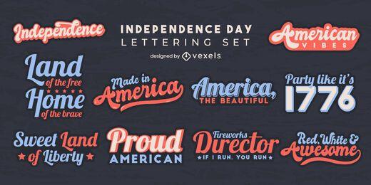 Conjunto de elementos de letras para o Dia da Independência