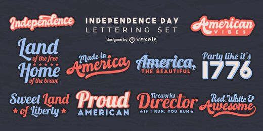 Independence day set of lettering elements