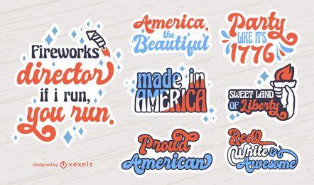 Conjunto de emblemas de letras de 4 de julho