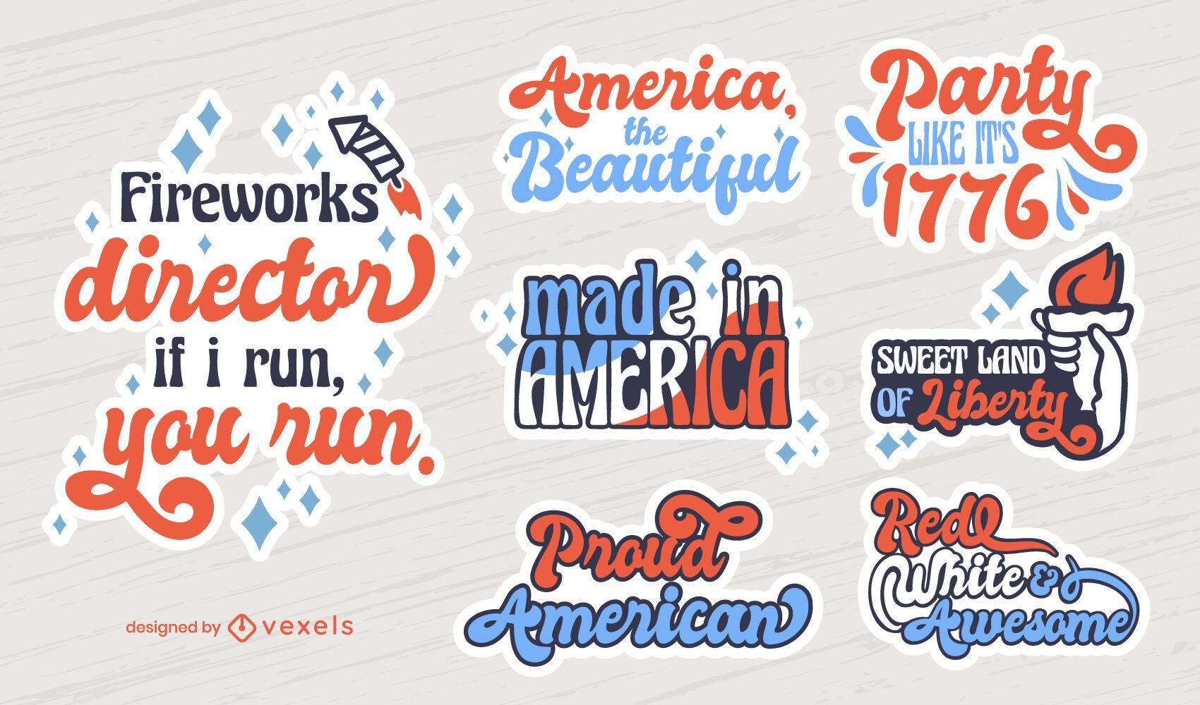 4th of July lettering badges set