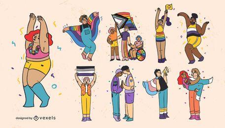 Conjunto de caracteres do traço colorido do mês do orgulho