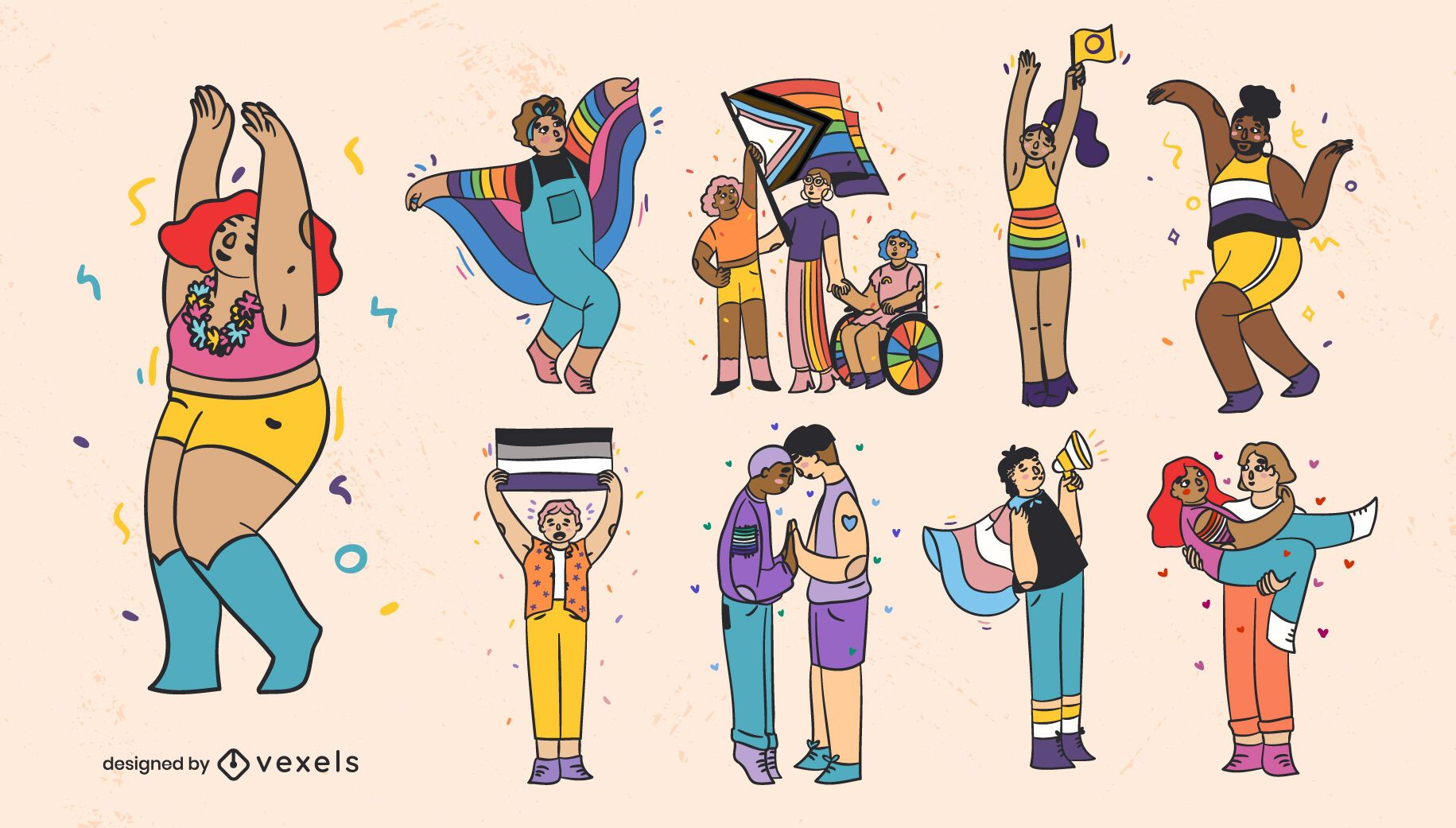 Pride month color stroke set of characters