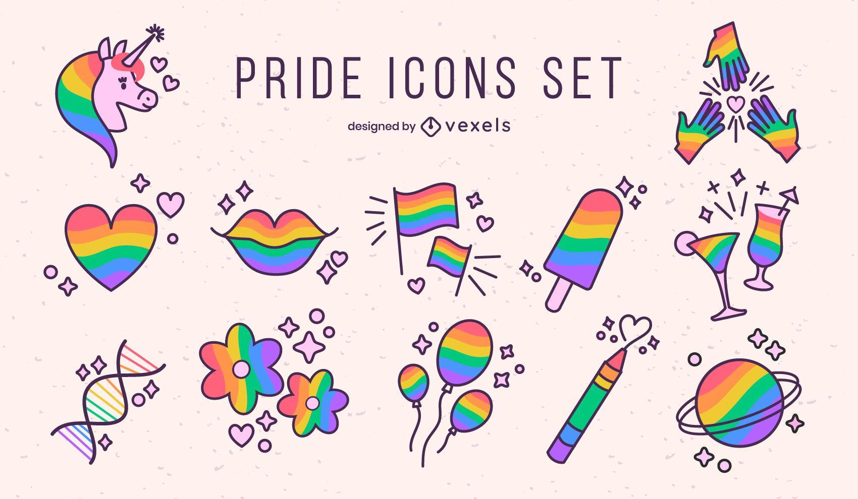 Conjunto de ícones do traço colorido do mês do orgulho