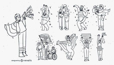 Conjunto de caracteres de trazo del mes del orgullo.