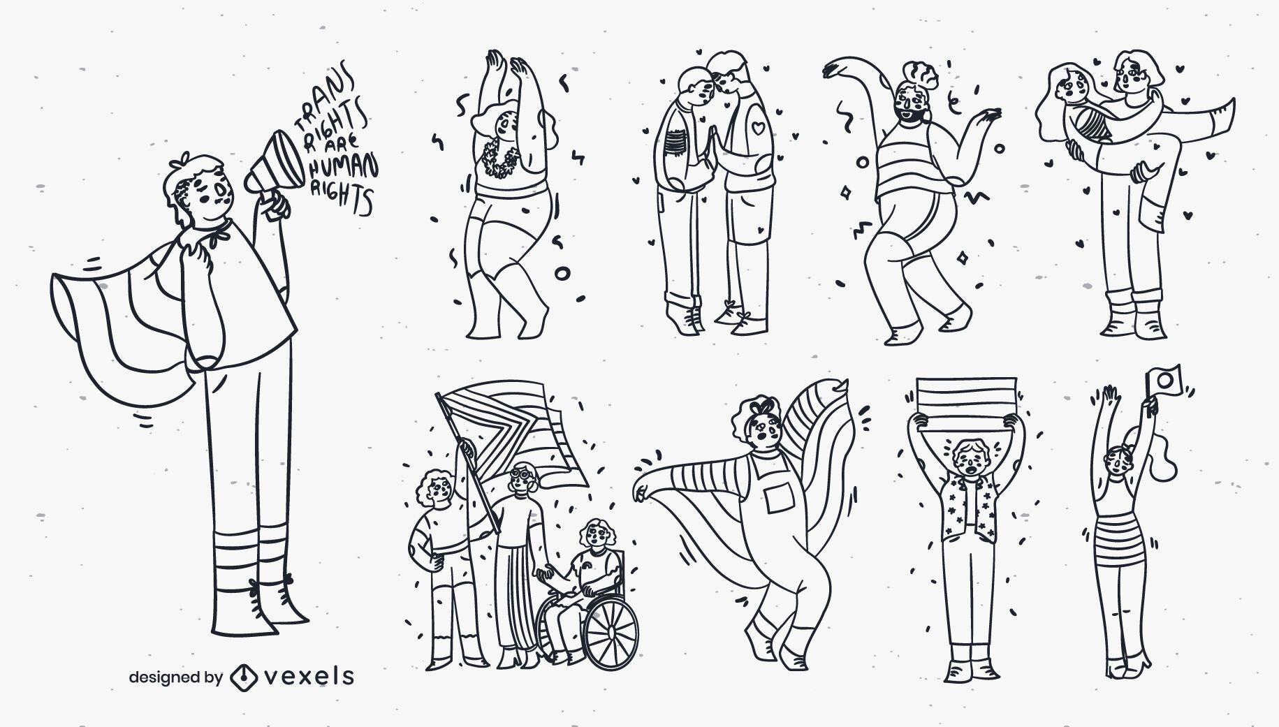 Conjunto de personagens do mês do orgulho