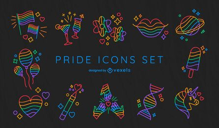 Conjunto de iconos de trazo del mes del orgullo
