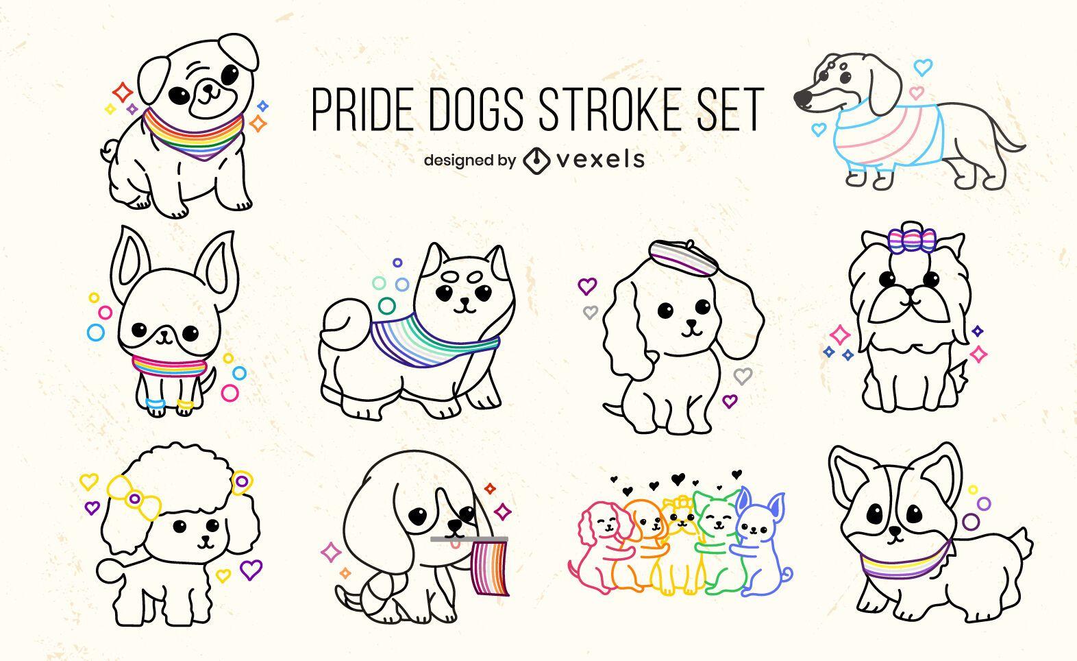 Perros cachorros orgullo bandera lindo conjunto de trazos