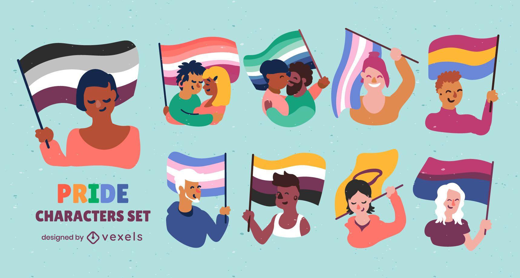 Conjunto de caracteres de personas de bandera lgbt de orgullo