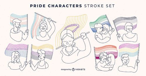 Pride flag lgbt people character stroke set