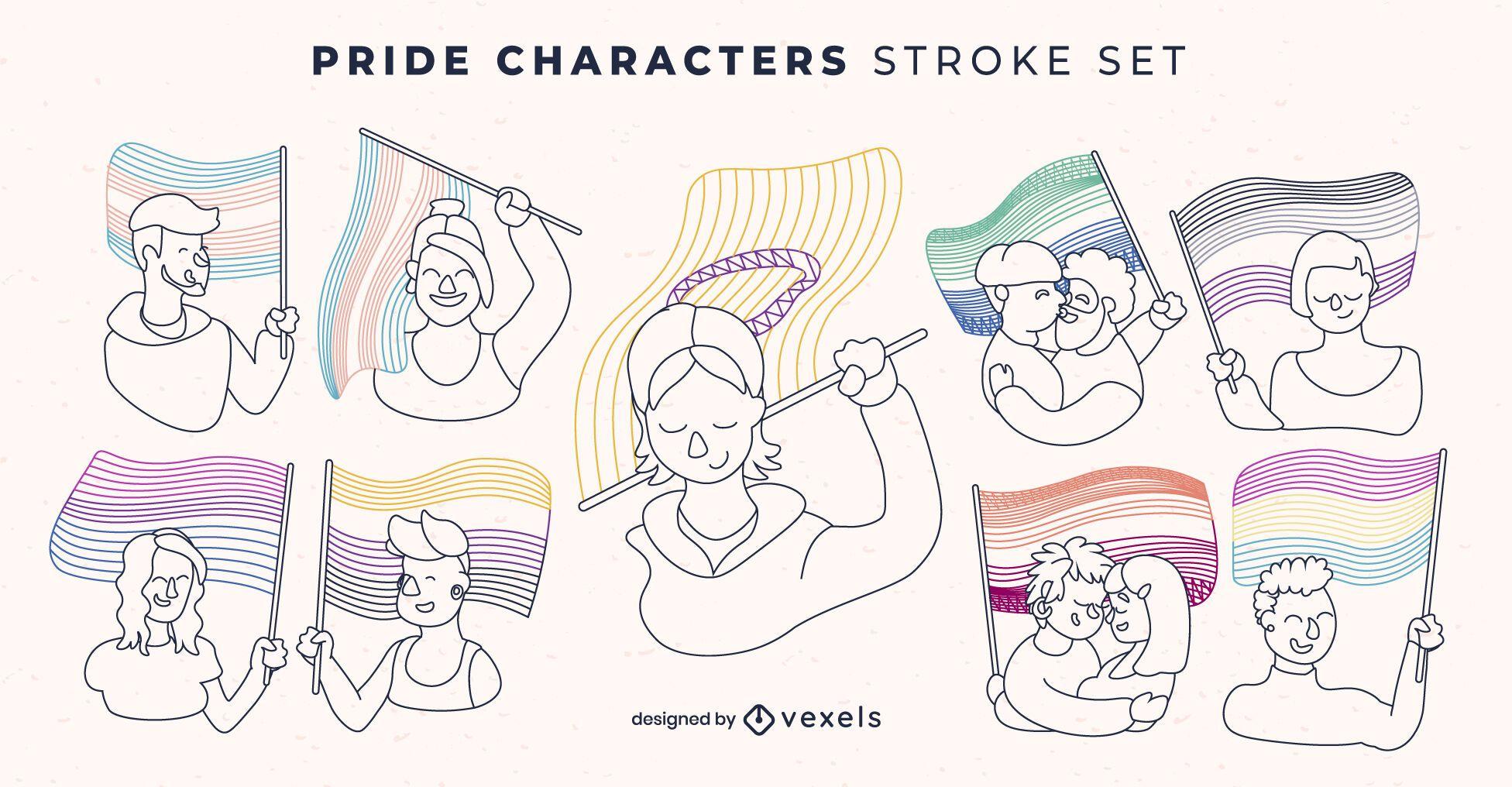 Conjunto de trazos de caracteres de personas lgbt de bandera de orgullo
