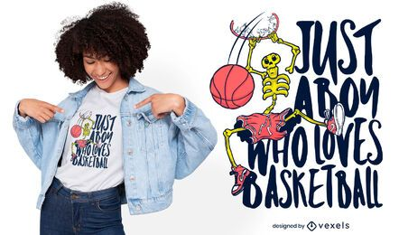 Diseño de camiseta deportiva de baloncesto esqueleto.