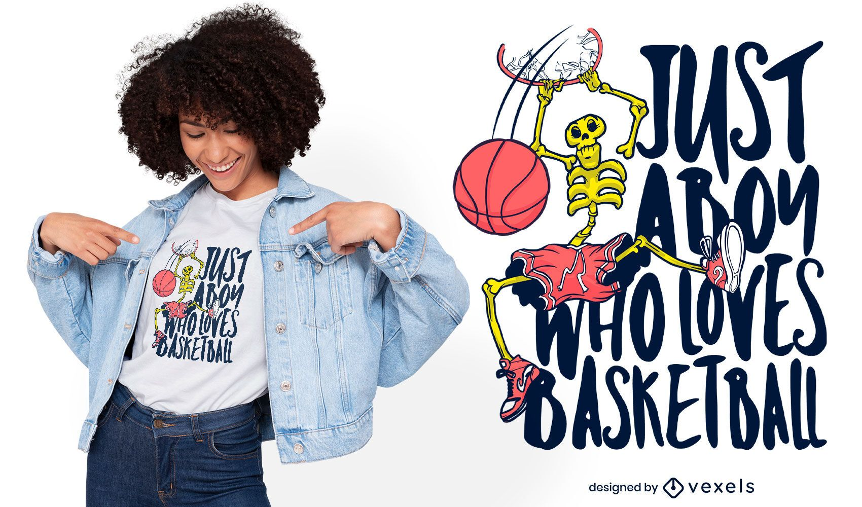 Design de camiseta esporte de basquete esqueleto