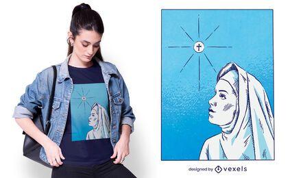 Diseño de camiseta dibujada a mano religión monja