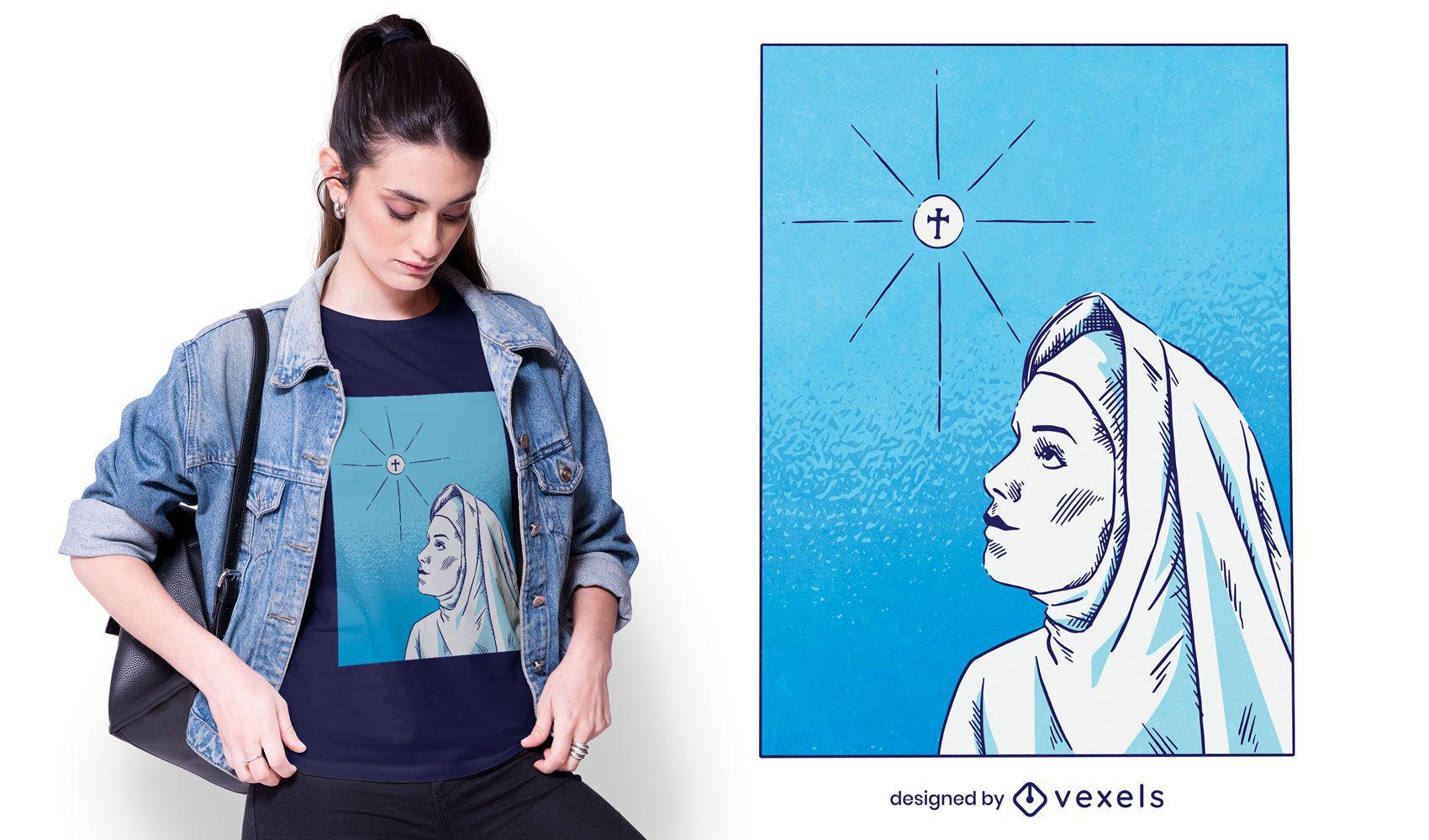 Design de t-shirt desenhada à mão para religião de freira