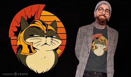 Cat in roman helmet cartoon t-shirt design