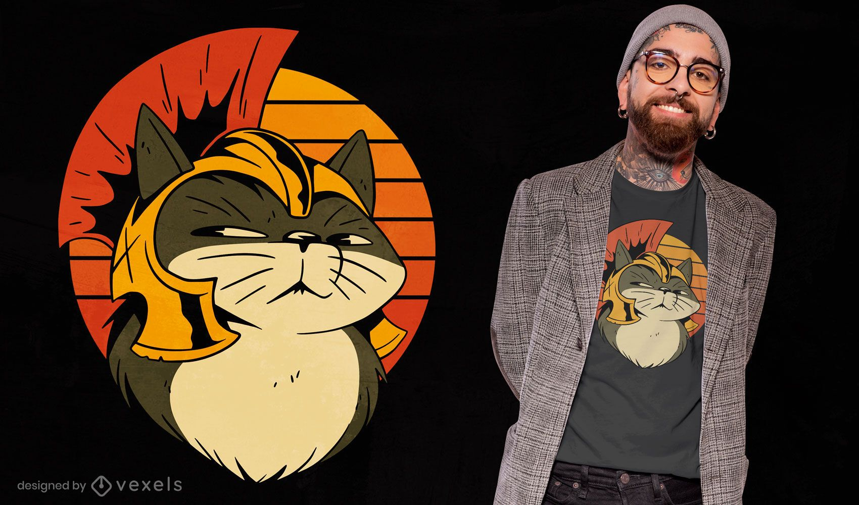 Katze im römischen Helmkarikatur-T-Shirt-Design