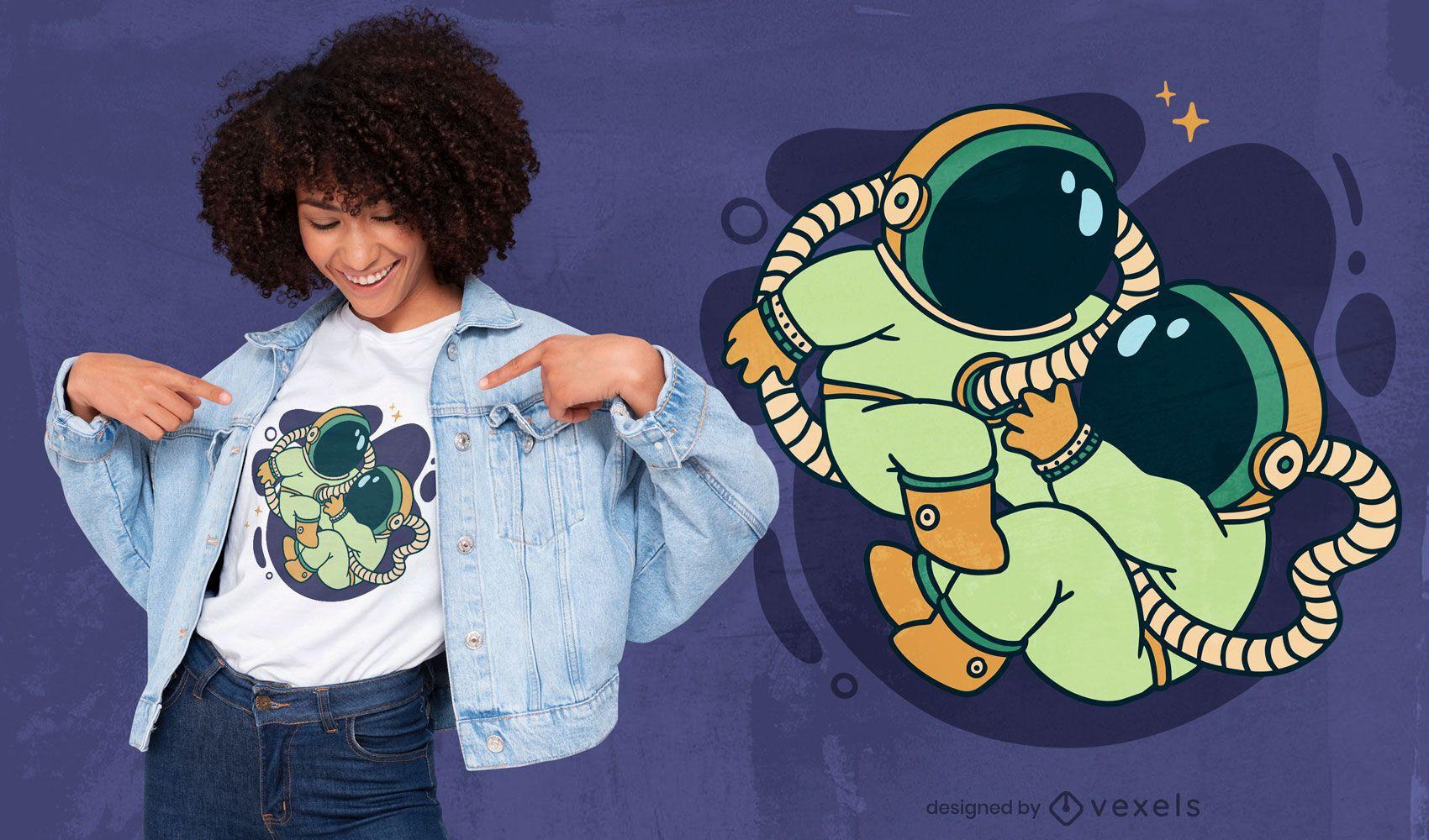 Diseño de camiseta espacial gemelo bebé astronautas.