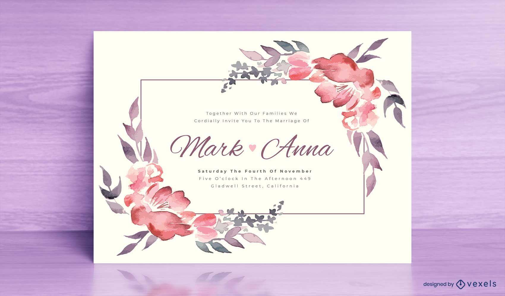 Plantilla de flores de acuarela de invitación de boda