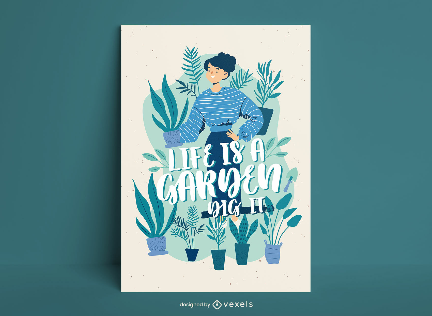 Diseño de carteles de ilustración de jardinería.