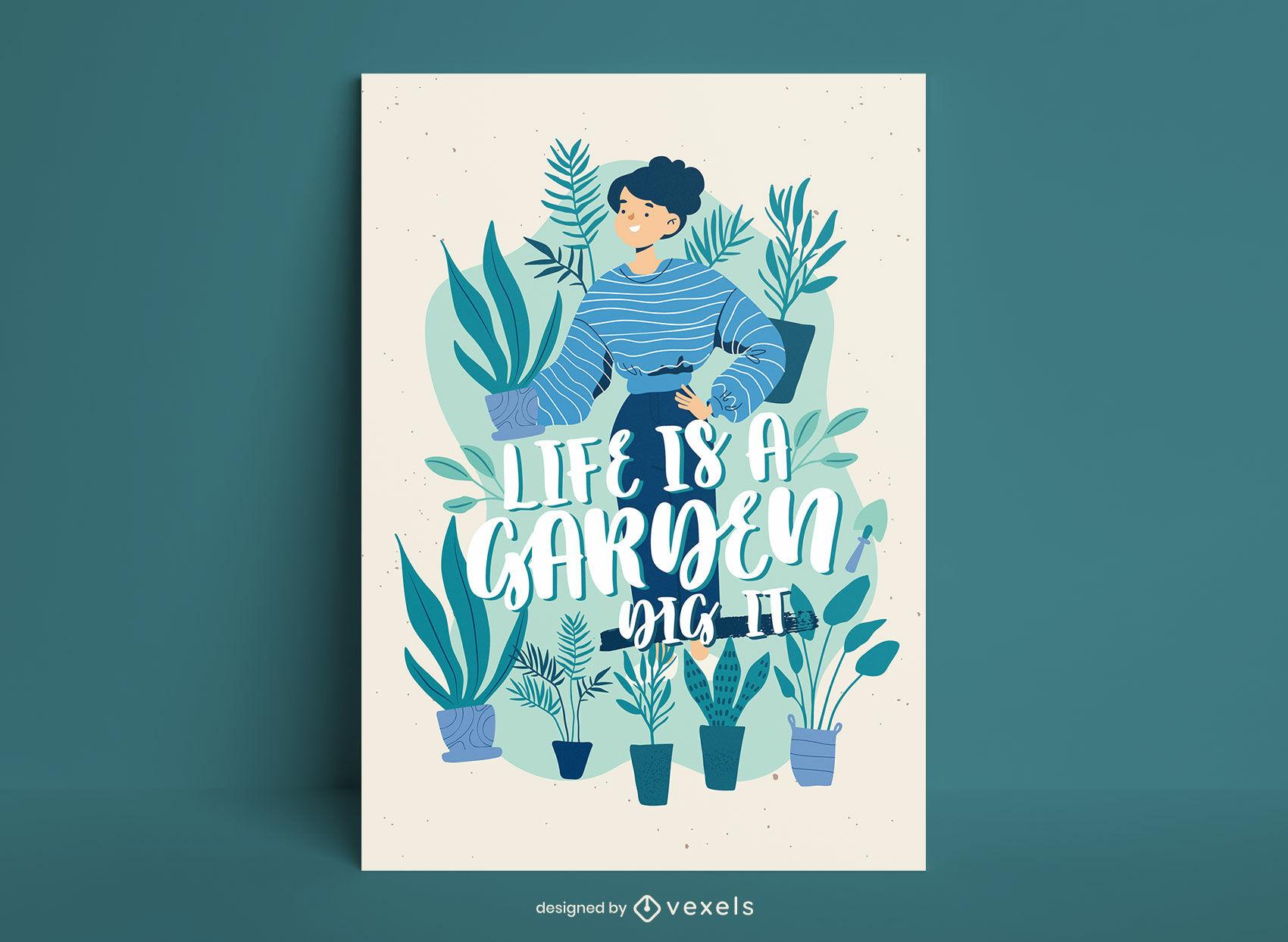 Gardening illustration poster design