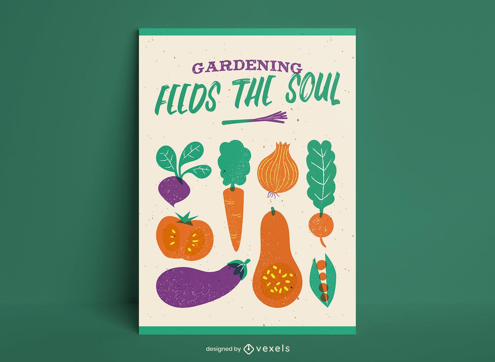 Diseño de cartel plano de verduras.