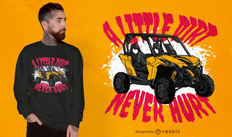 Design de camiseta com orçamento de transporte de veículos sujos