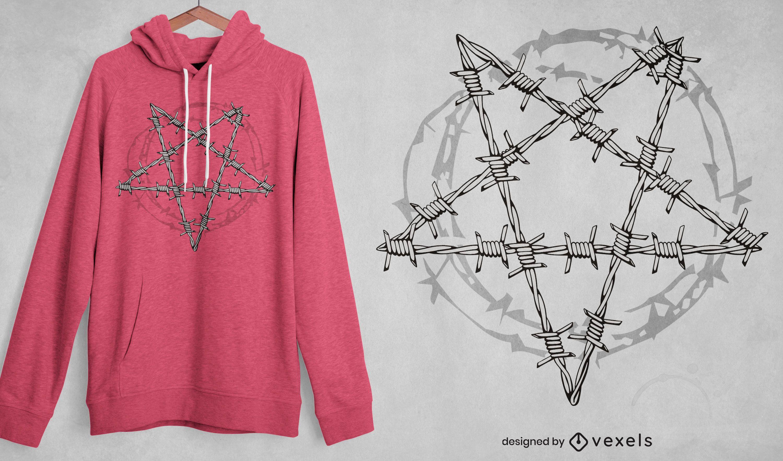 Design de t-shirt com linha de pentagrama de arame