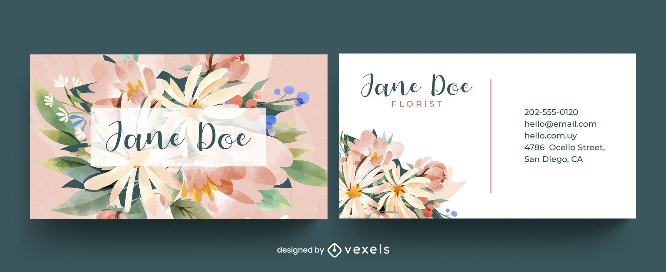 Business card watercolor floral template