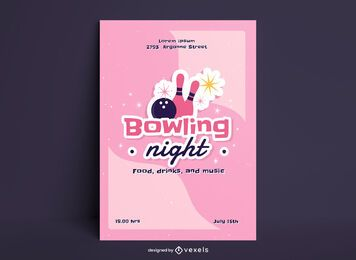 Bowling night sticker style poster design
