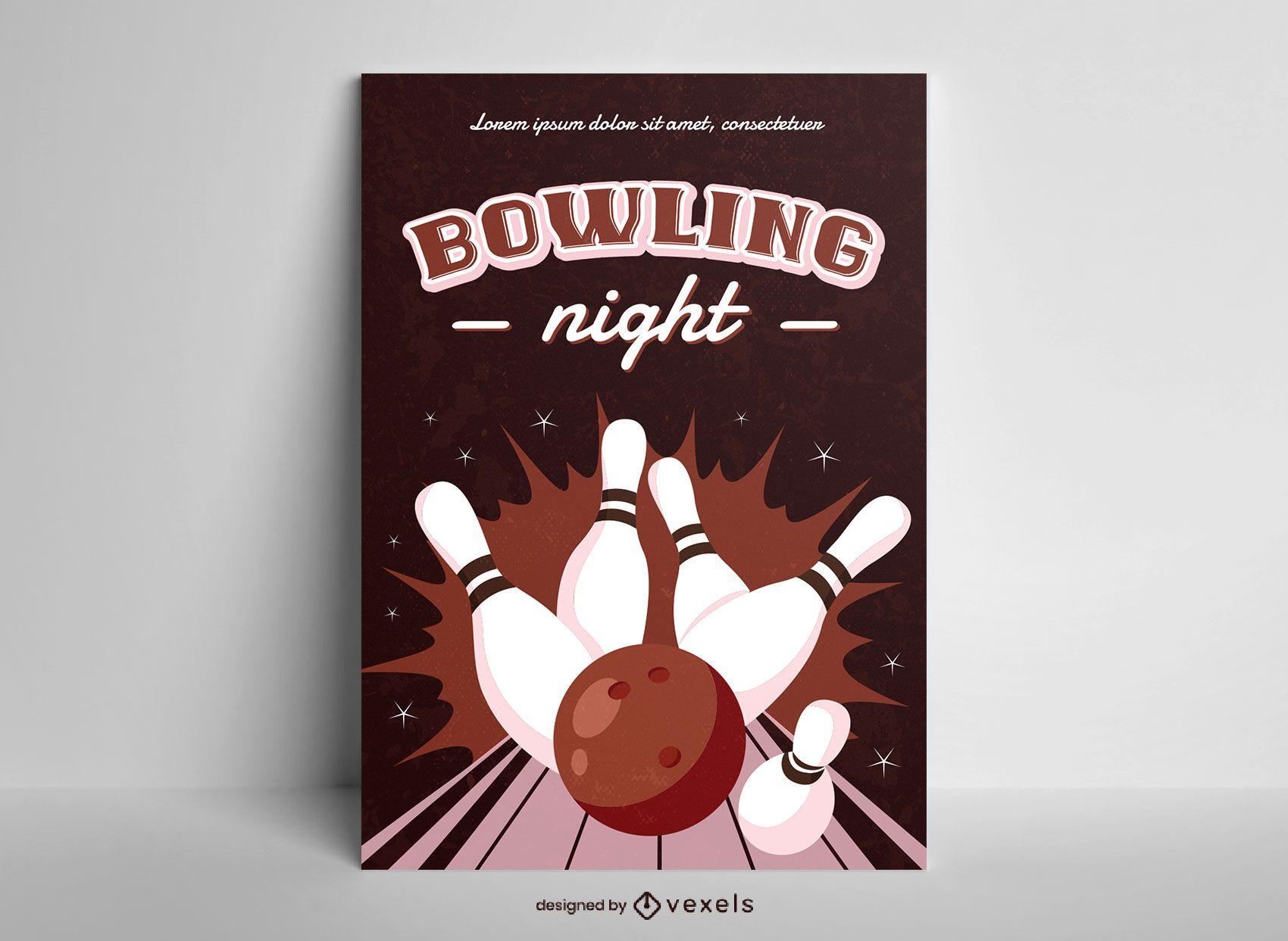 Bowling night semi flat poster design