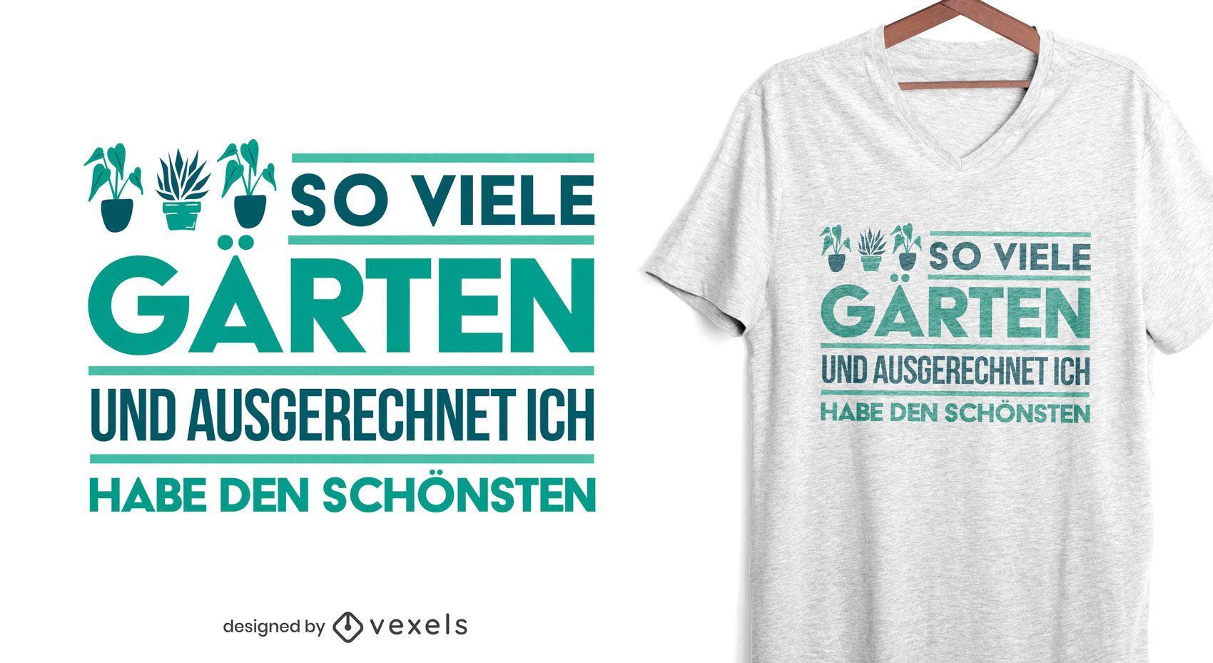 Diseño de camiseta de cita alemana de plantas de jardín