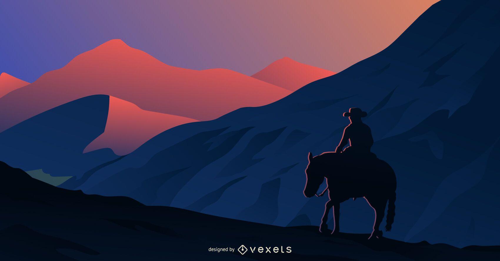 Passeio ao pôr do sol com silhueta de cowboy