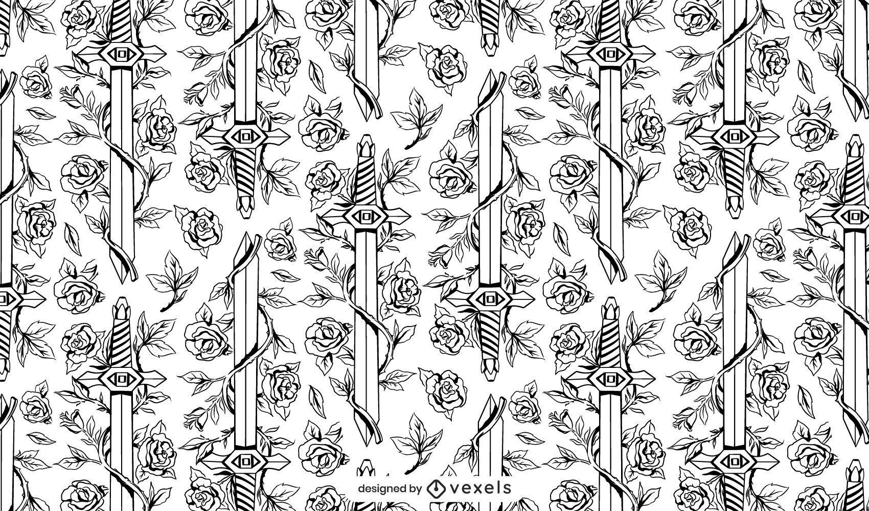 Espada arma rosas naturaleza patrón diseño